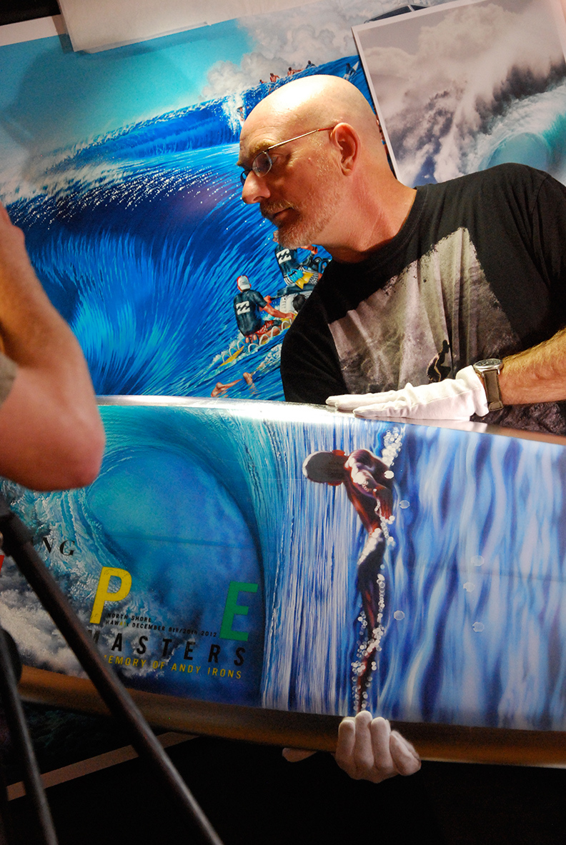 Phil Roberts with 2012 Pipe Master Trophy Surfboard