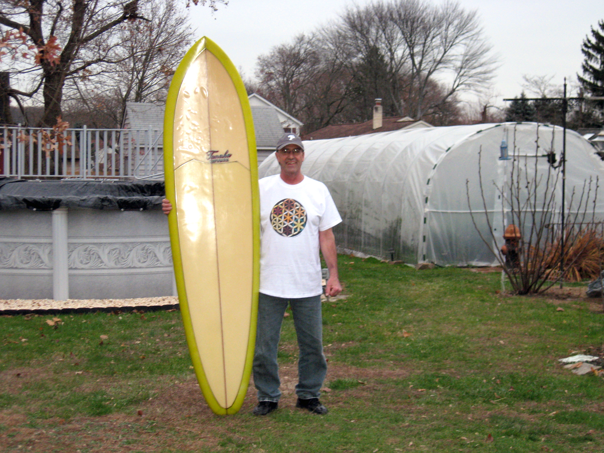 Fred With His Ernia Tanaka and wearing our Surfboard Project Tee