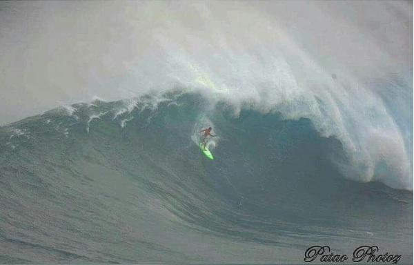 Matt Kinoshita testing one of his boards at Jaws Photo: John Patao