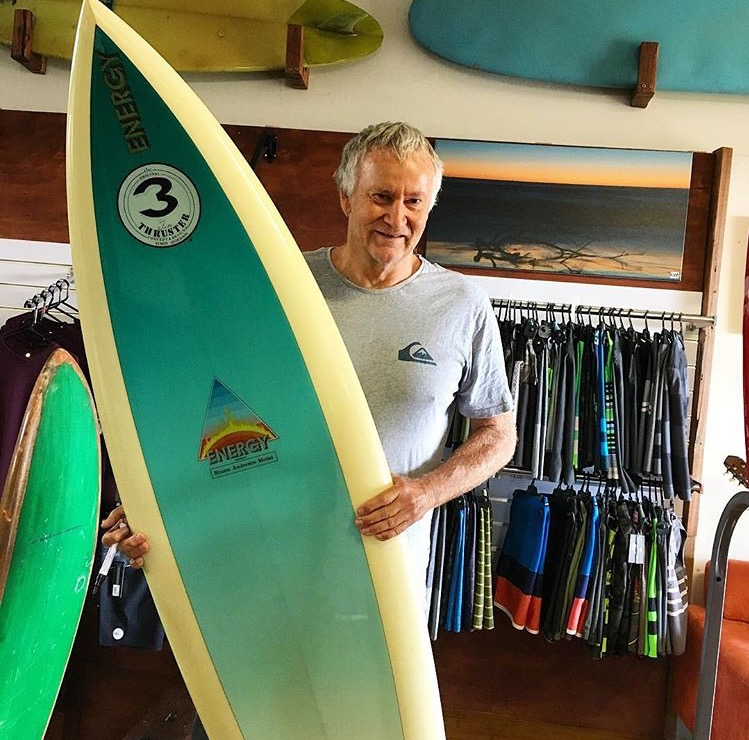 Simon Anderson with a original 1980 Energy thruster