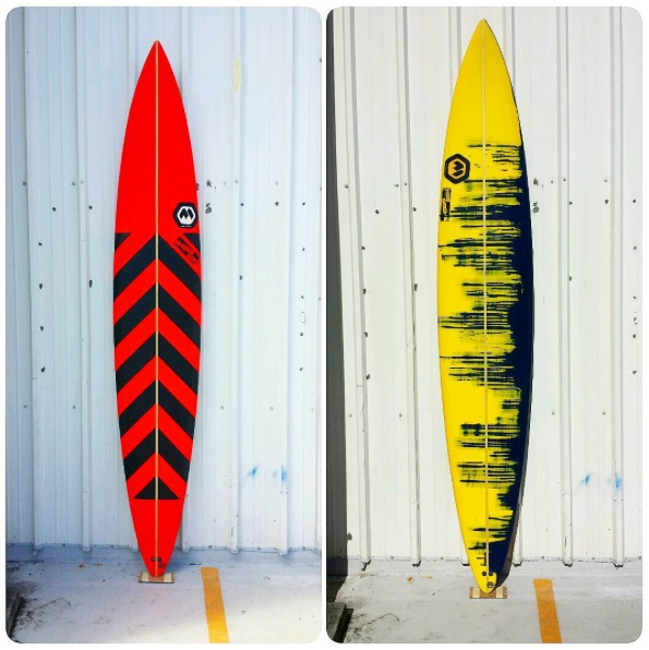 Mark Healey Ron Meeks Pe'ahi Gun on Left and Dave Wassel's on the Right