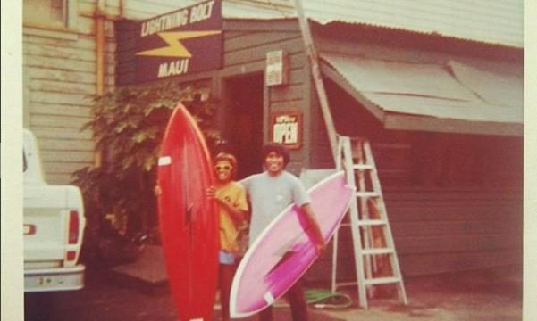 The Lightning Bolt Maui days, Two Dick Brewer Balsa Guns over 15′ and a BK Gun