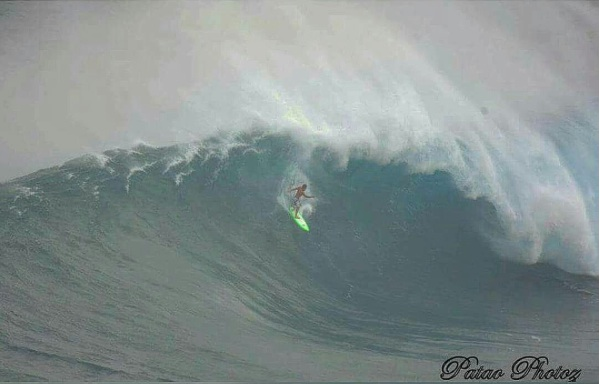 Matt Kinoshita testing one of his boards at Jaws Photo: John Patao